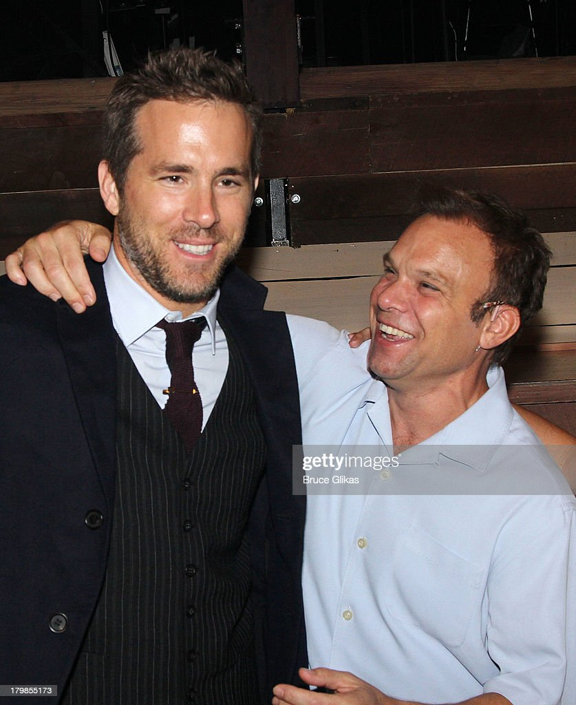 Ryan Reynolds and Norbert Leo Butz backstage (as Ryan Reynolds and wife Blake Lively celebrate their 1st wedding anniversary) at the musical 'Big Fish' on Broadway at The Neil Simon Theater on September 6, 2013 in New York City.
