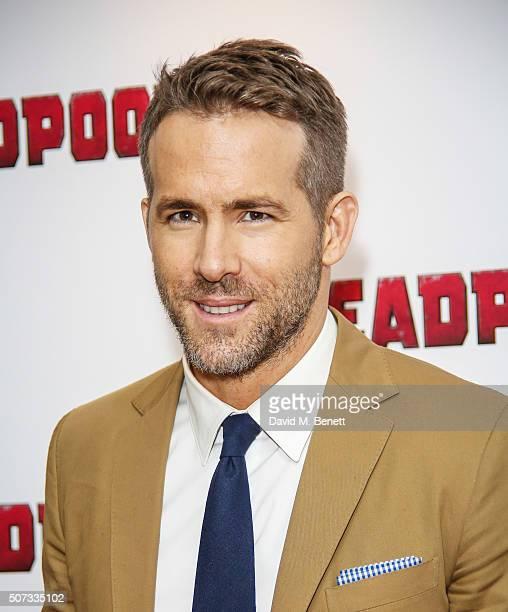 Ryan Reynolds attends a fan screening of 'Deadpool' at The Soho Hotel on January 28 2016 in London England