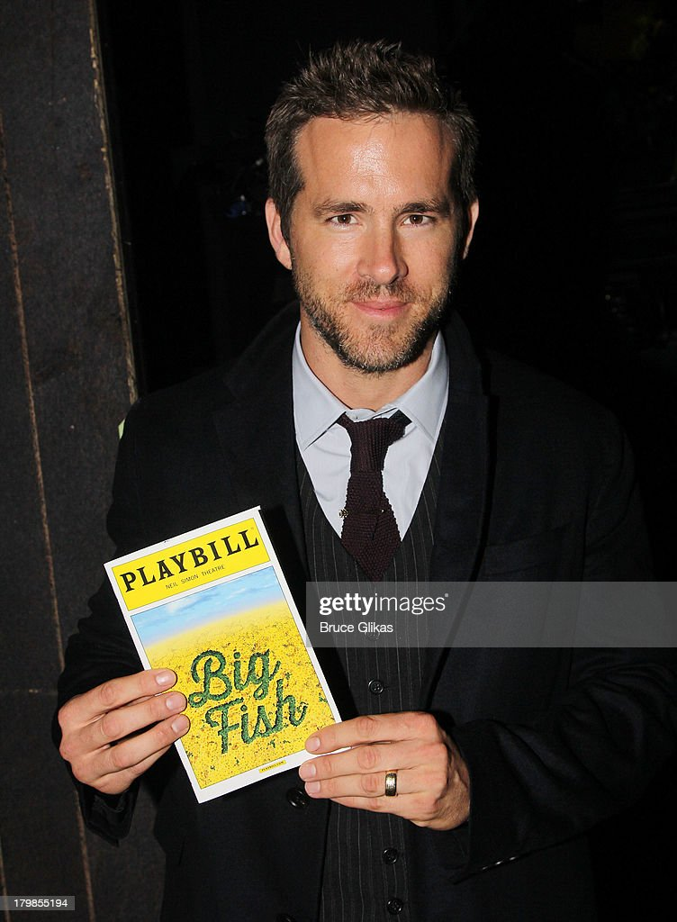 Ryan Reynolds poses backstage (as he and wife Blake Lively celebrate their 1st wedding anniversary) at the musical 'Big Fish' on Broadway at The Neil Simon Theater on September 6, 2013 in New York City.