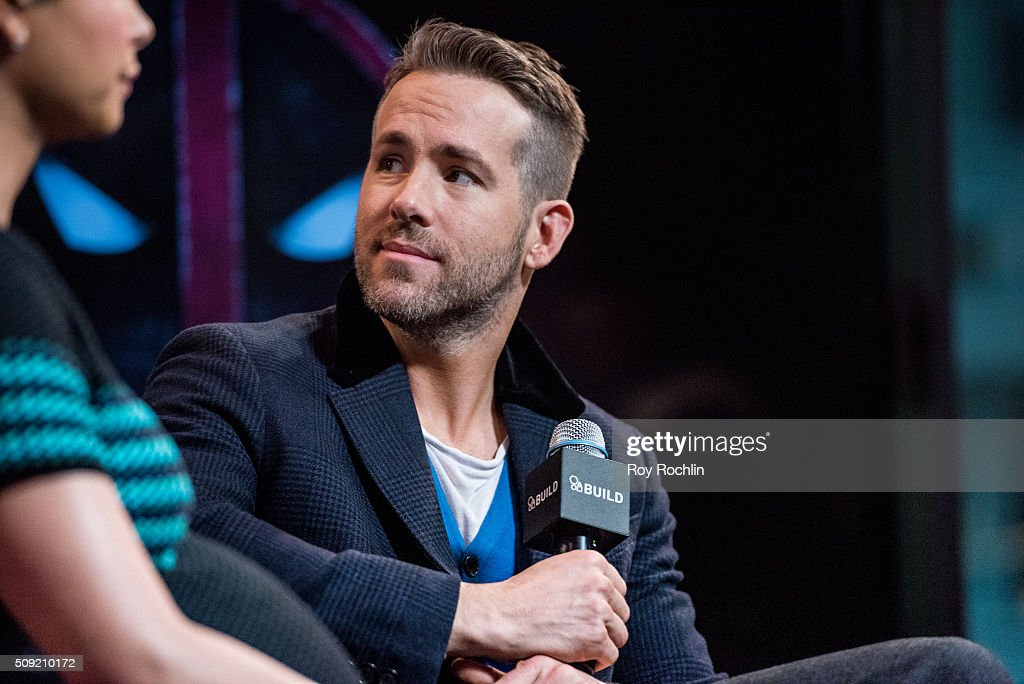 <a gi-track='captionPersonalityLinkClicked' href=/galleries/search?phrase=Ryan+Reynolds&family=editorial&specificpeople=204149 ng-click='$event.stopPropagation()'>Ryan Reynolds</a>, TJ Miller, Ed Skrein and Morena Baccarin discuss their new film Deadpool at AOL Studios In New York on February 9, 2016 in New York City.