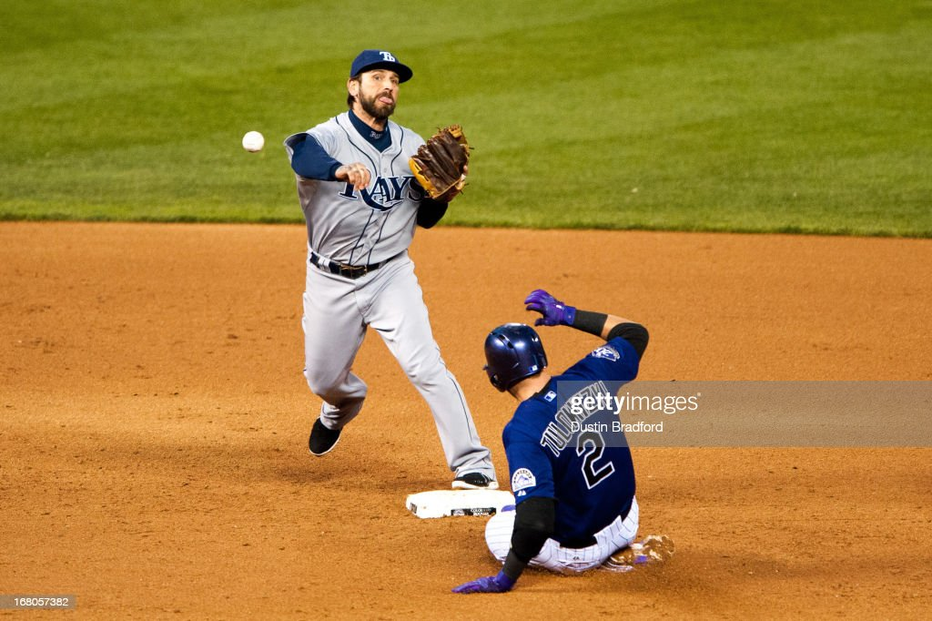 Ryan Roberts #19 of the Tampa Bay Rays attempts to turn a double play past a sliding <a gi-track='captionPersonalityLinkClicked' href=/galleries/search?phrase=Troy+Tulowitzki&family=editorial&specificpeople=757353 ng-click='$event.stopPropagation()'>Troy Tulowitzki</a> #2 of the Colorado Rockies during the fifth inning of a game at Coors Field on May 4, 2013 in Denver, Colorado. The runner at first base was safe.