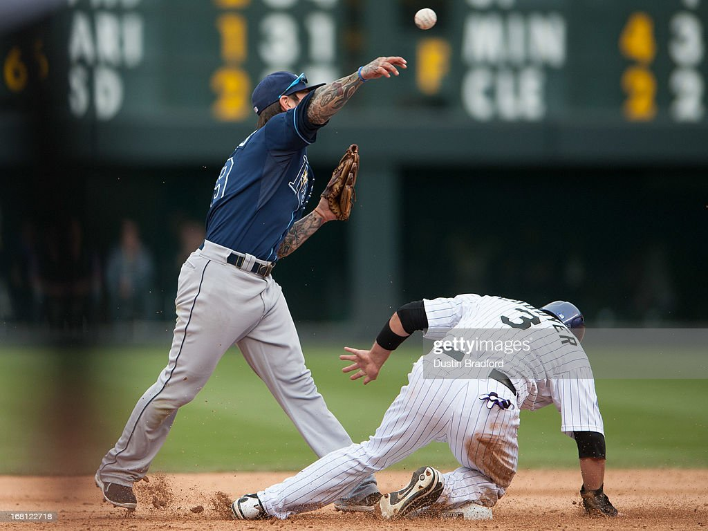 Ryan Roberts #19 of the Tampa Bay Rays commits an error on a a wild throw towards first base after forcing out <a gi-track='captionPersonalityLinkClicked' href=/galleries/search?phrase=Michael+Cuddyer&family=editorial&specificpeople=208127 ng-click='$event.stopPropagation()'>Michael Cuddyer</a> #3 of the Colorado Rockies in the sixth inning of a game at Coors Field on May 5, 2013 in Denver, Colorado.