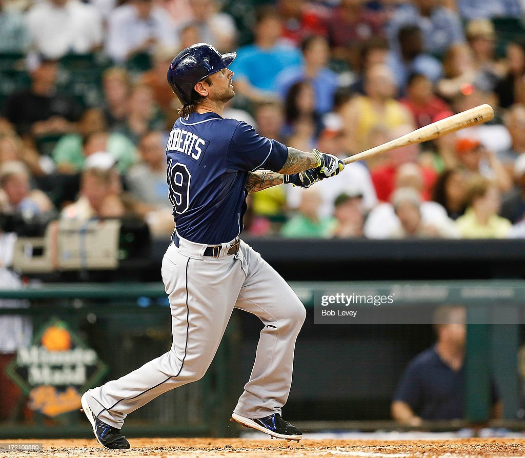 Ryan Roberts #19 of the Tampa Bay Rays hits a two-run home run in the third inning against the Houston Astros at Minute Maid Park on July 1, 2013 in Houston, Texas.