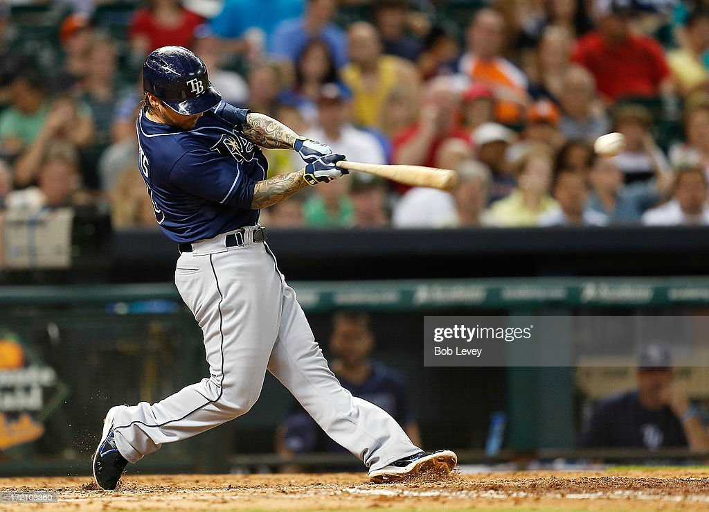 Ryan Roberts #19 of the Tampa Bay Rays singles in the fifth inning against the Houston Astros at Minute Maid Park on July 1, 2013 in Houston, Texas.