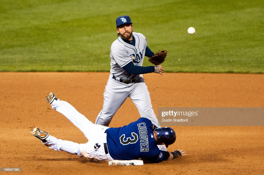 Ryan Roberts #19 of the Tampa Bay Rays turns a double play despite an attempt by <a gi-track='captionPersonalityLinkClicked' href=/galleries/search?phrase=Michael+Cuddyer&family=editorial&specificpeople=208127 ng-click='$event.stopPropagation()'>Michael Cuddyer</a> #3 of the Colorado Rockies to take him out at second base during the fifth inning of a game at Coors Field on May 4, 2013 in Denver, Colorado.