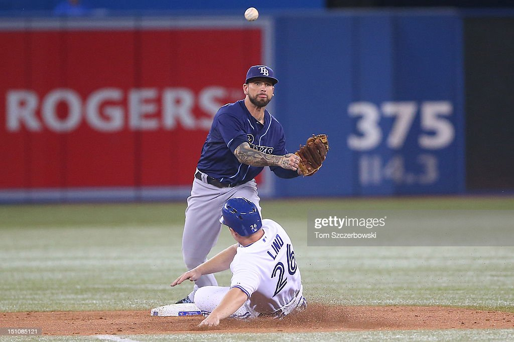 Ryan Roberts #19 of the Tampa Bay Rays turns a double play in the fourth inning during MLB game action as <a gi-track='captionPersonalityLinkClicked' href=/galleries/search?phrase=Adam+Lind&family=editorial&specificpeople=3911783 ng-click='$event.stopPropagation()'>Adam Lind</a> #26 of the Toronto Blue Jays slides on August 31, 2012 at Rogers Centre in Toronto, Ontario, Canada.