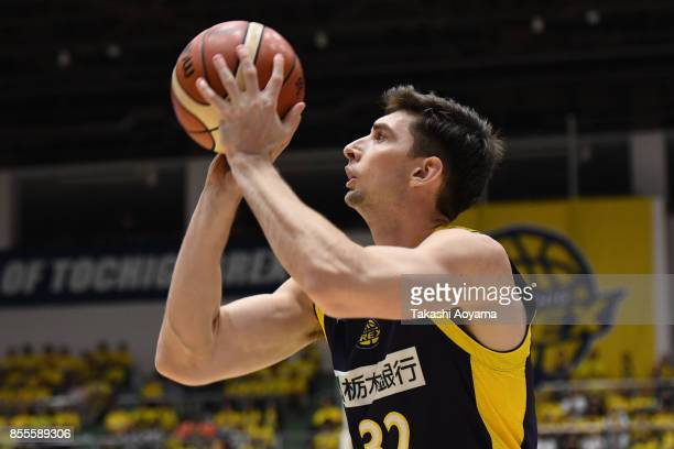 Ryan Rossiter of the Tochigi Brex in action during the BLeague game between Tochigi Brex and Seahorses Mikawa at Brex Arena Utsunomiya on September...