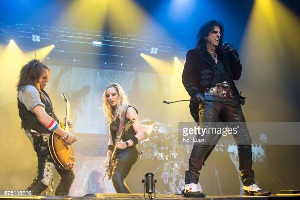 Ryan Roxie Nita Strauss and Alice Cooper perform at Wembley Arena on November 16 2017 in London England