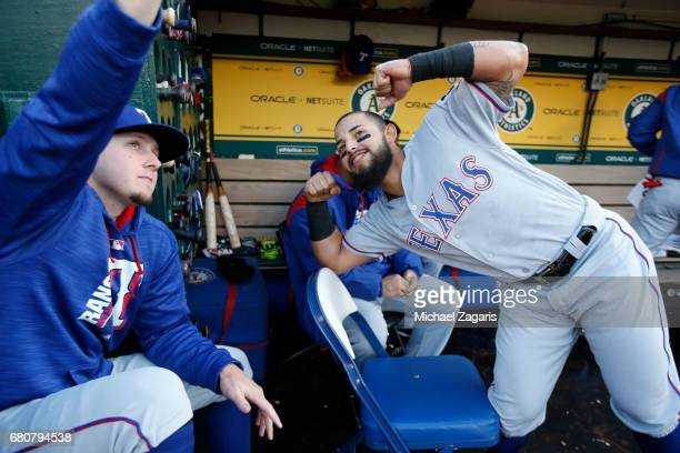 Ryan Rua and Rougned Odor of the Texas Rangers clown around in the dugout prior to the game against the Oakland Athletics at the Oakland Alameda...
