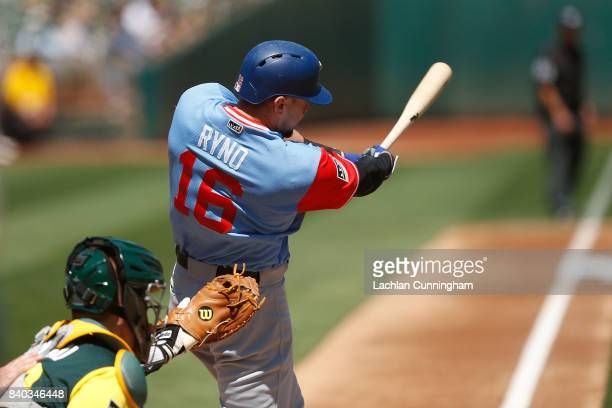 Ryan Rua of the Texas Rangers at bat in the second inning against the Oakland Athletics at Oakland Alameda Coliseum on August 26 2017 in Oakland...