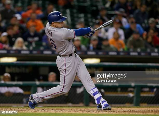 Ryan Rua of the Texas Rangers bats against the Detroit Tigers at Comerica Park on May 20 2017 in Detroit Michigan