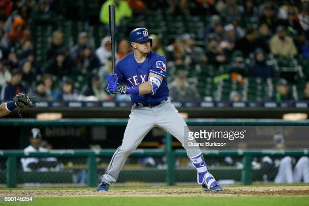 Ryan Rua of the Texas Rangers bats against the Detroit Tigers at Comerica Park on May 19 2017 in Detroit Michigan