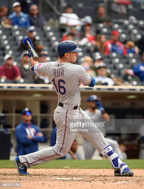 Ryan Rua of the Texas Rangers plays during a baseball game against the San Diego Padres at PETCO Park on May 9 2017 in San Diego California