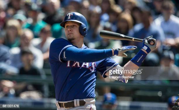 Ryan Rua of the Texas Rangers takes a swing during a game against the Texas Rangers at Safeco Field on May 7 2017 in Seattle Washington The Mariners...