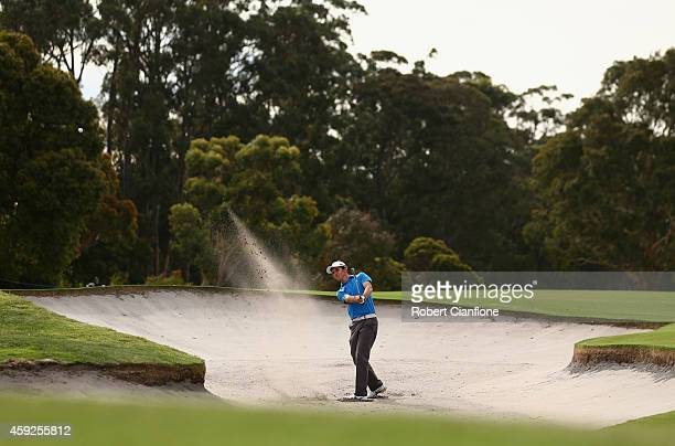 Ryan Ruffels of Australia plays a shot out of the bunker during round one of the 2014 Australian Masters at the Metropolitan Golf Club on November 20...