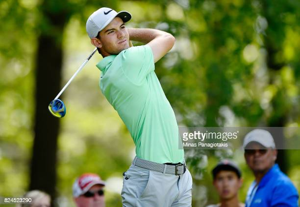 Ryan Ruffels of Australia plays his shot from the 11th tee during the final round of the RBC Canadian Open at Glen Abbey Golf Club on July 30 2017 in...