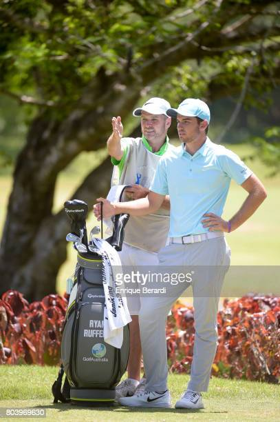 Ryan Ruffels of Australia prepares to hit a shot on the 12th hole during the final round of the PGA TOUR Latinoamerica Puerto Plata DR Open at Playa...