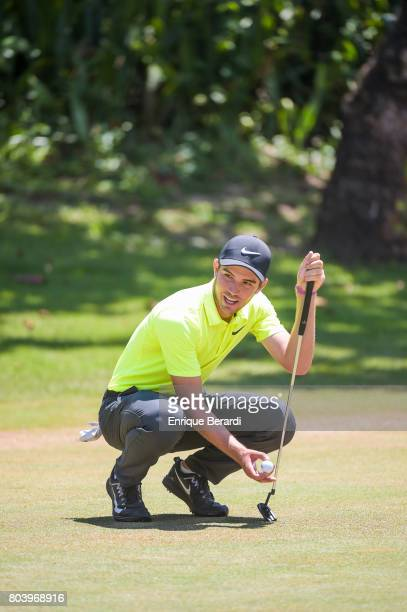 Ryan Ruffels of Australia prepares to putt on the sixth green during the second round of the PGA TOUR Latinoamerica Puerto Plata DR Open at Playa...