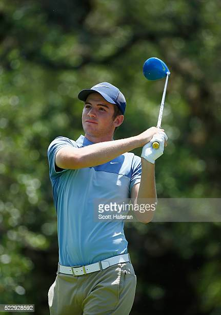Ryan Ruffels of Australia tees off on the 12th hole during the first round of the Valero Texas Open at TPC San Antonio ATT Oaks Course on April 21...