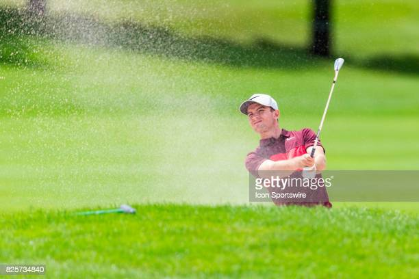 Ryan Ruffels plays a shot from the sand trap bunker on the 18th hole during second round action of the RBC Canadian Open on July 28 at Glen Abbey...