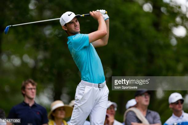 Ryan Ruffels plays his tee shot on the 11th hole during third round action of the RBC Canadian Open on July 29 at Glen Abbey Golf Club in Oakville ON...