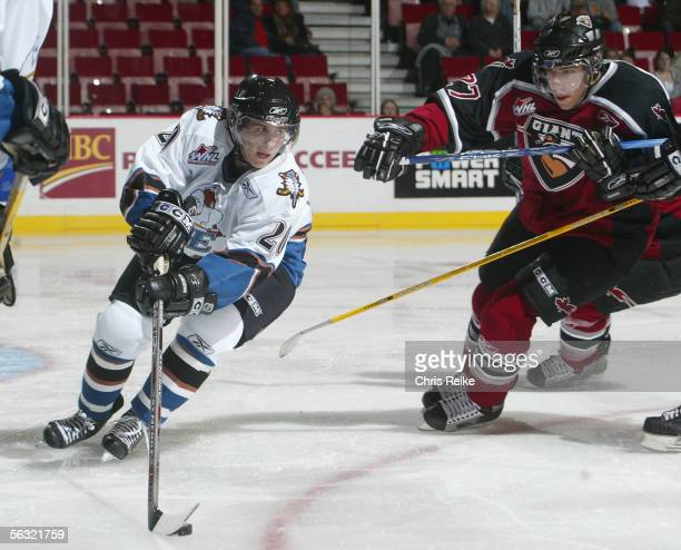 Ryan Russell of the Vancouver Giants skates against the Kootenay Ice during the WHL hockey game on October 11 2005 at Pacific Coliseum in Vancouver...