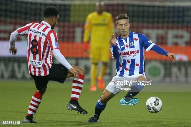 Ryan Sanusi of Sparta Rotterdam Yuki Kobayashi of sc Heerenveen during the Dutch Eredivisie match between Sparta Rotterdam and sc Heerenveen at the...