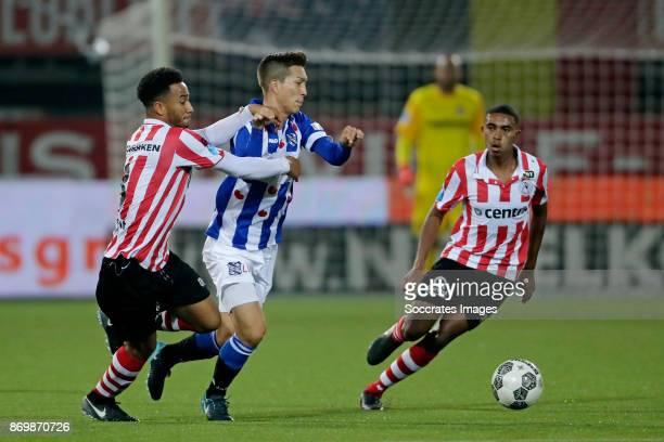 Ryan Sanusi of Sparta Rotterdam Yuki Kobayashi of SC Heerenveen during the Dutch Eredivisie match between Sparta v SC Heerenveen at the Sparta...