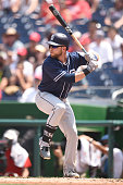 Ryan Schimpf of the San Diego Padres prepares for a pitch during a baseball game against the Washington Nationals at Nationals Park on July 24 2016...