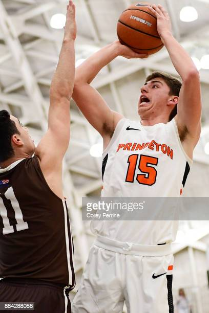 Ryan Schwieger of the Princeton Tigers looks to score against Jordan Cohen of the Lehigh Mountain Hawks during the first half at L Stockwell Jadwin...