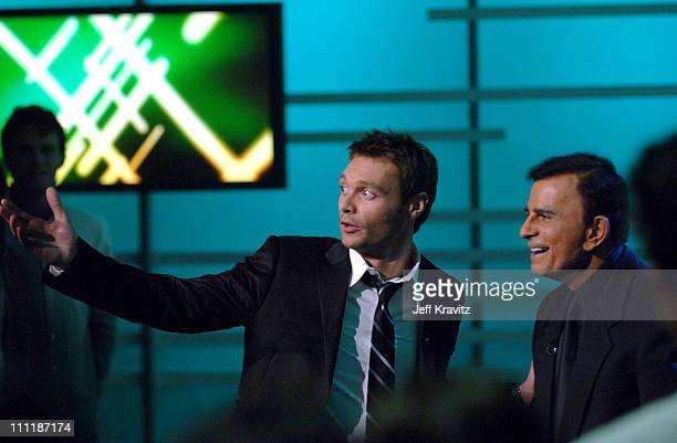 Ryan Seacrest and Casey Kasem during 'America's Top 40 Live' with Ryan Seacrest at CBS Studios Stage 46 in Los Angeles California United States