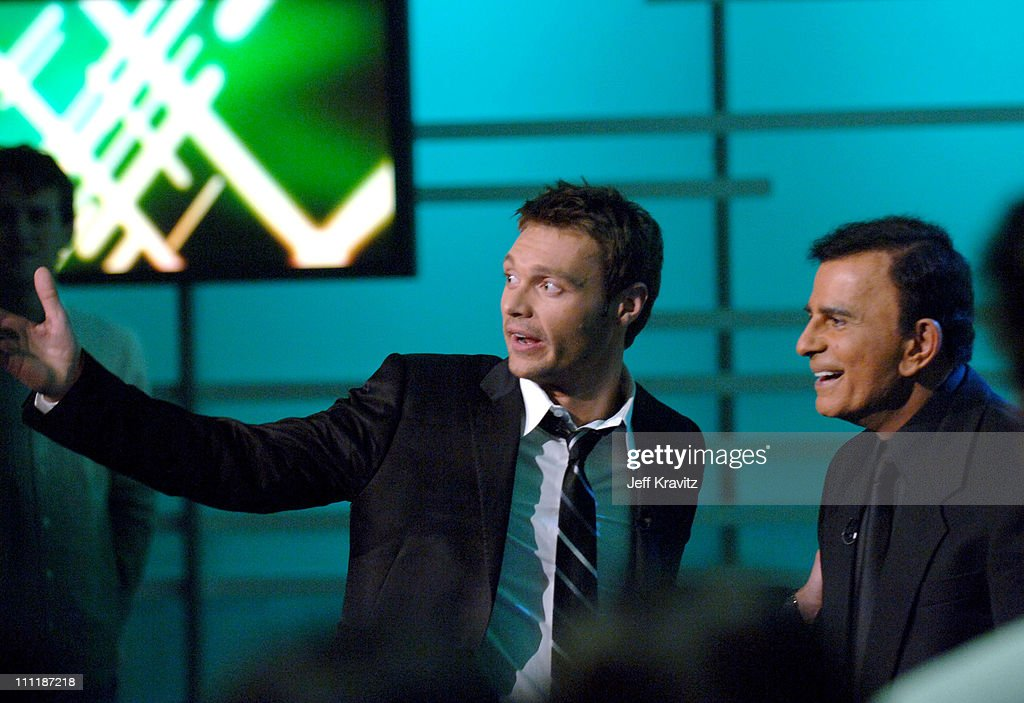 Ryan Seacrest and Casey Kasem during 'America's Top 40 Live' with Ryan Seacrest at CBS Studios Stage 46 in Los Angeles, California, United States.