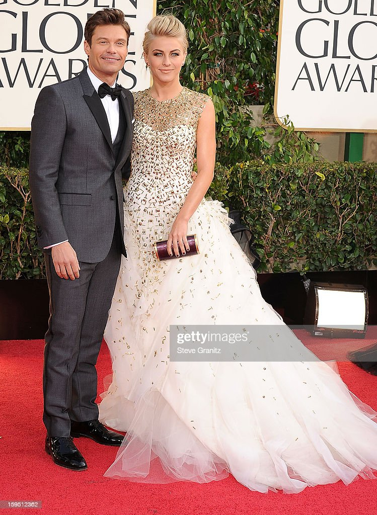 Ryan Seacrest and Julianne Hough arrives at the 70th Annual Golden Globe Awards at The Beverly Hilton Hotel on January 13, 2013 in Beverly Hills, California.