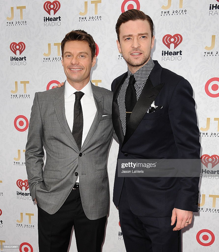 Ryan Seacrest and Justin Timberlake attend the '20/20' album release party at El Rey Theatre on March 18, 2013 in Los Angeles, California.