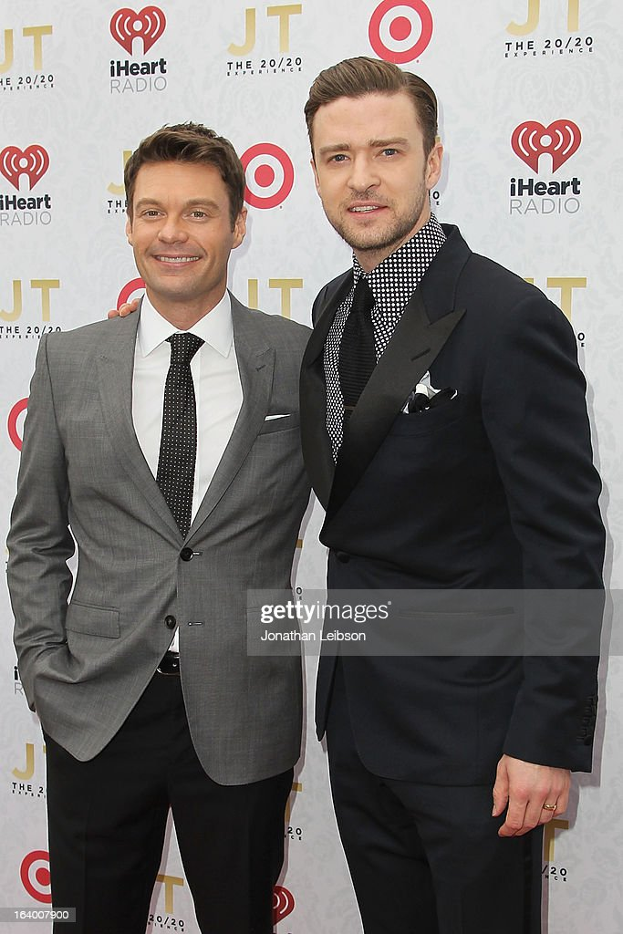 Ryan Seacrest and Justin Timberlake attend the Target Presents The iHeartRadio '20/20' Album Release Party With Justin Timberlake at El Rey Theatre on March 18, 2013 in Los Angeles, California.