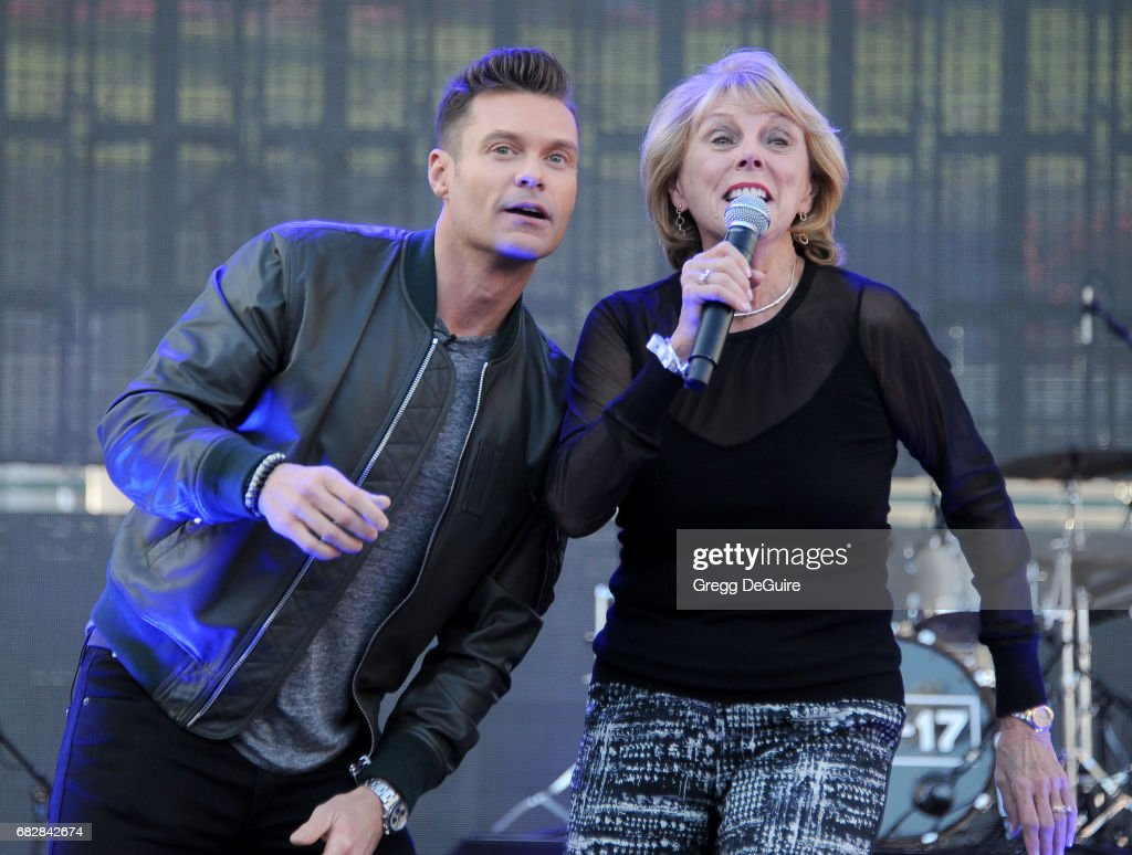 Ryan Seacrest and mom Constance Marie Zullinger at 102.7 KIIS FM's 2017 Wango Tango at StubHub Center on May 13, 2017 in Carson, California.