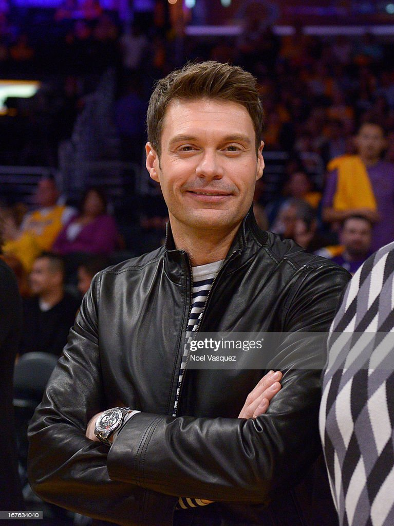 <a gi-track='captionPersonalityLinkClicked' href=/galleries/search?phrase=Ryan+Seacrest&family=editorial&specificpeople=201694 ng-click='$event.stopPropagation()'>Ryan Seacrest</a> attends an NBA playoff game between the San Antonio Spurs and the Los Angeles Lakers at Staples Center on April 26, 2013 in Los Angeles, California.