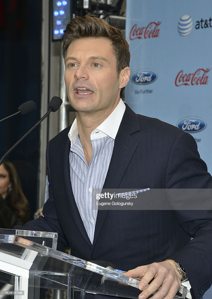 <a gi-track='captionPersonalityLinkClicked' href=/galleries/search?phrase=Ryan+Seacrest&family=editorial&specificpeople=201694 ng-click='$event.stopPropagation()'>Ryan Seacrest</a> attends the Idol Across America Kick Off in the News Corp Building Plaza on March 1, 2013 in New York City.
