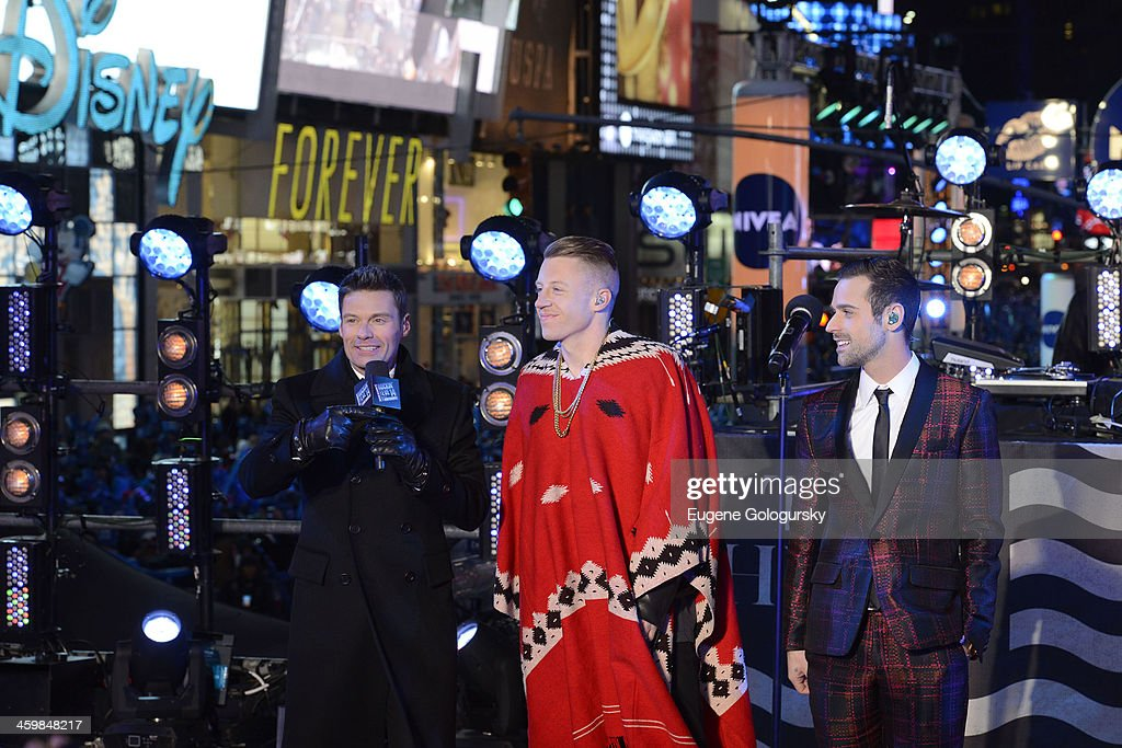 Ryan Seacrest, Macklemore and Ryan Lewis at New Year's Eve Countdown at Times Square on December 31, 2013 in New York City.