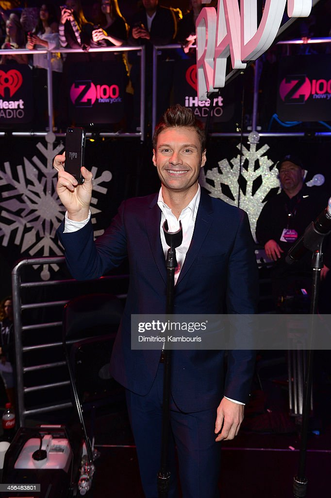 <a gi-track='captionPersonalityLinkClicked' href=/galleries/search?phrase=Ryan+Seacrest&family=editorial&specificpeople=201694 ng-click='$event.stopPropagation()'>Ryan Seacrest</a> poses backstage at Z100's Jingle Ball 2013, presented by Aeropostale, at Madison Square Garden on December 13, 2013 in New York City.