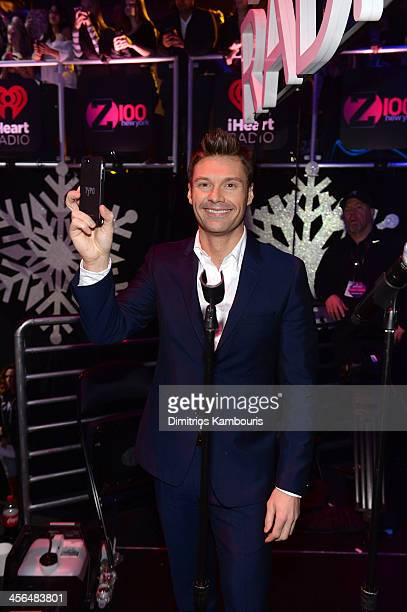Ryan Seacrest poses backstage at Z100's Jingle Ball 2013 presented by Aeropostale at Madison Square Garden on December 13 2013 in New York City