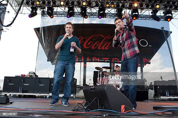 Ryan Seacrest talks with Nick Swardson onstage during day 2 of the free NCAA 2010 Big Dance Concert Series at White River State Park on April 3 2010...