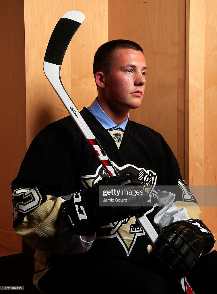 Ryan Segalla, 119th pick overall by the Pittsburgh Penguins, poses for a portrait during the 2013 NHL Draft at the Prudential Center on June 30, 2013 in Newark, New Jersey.