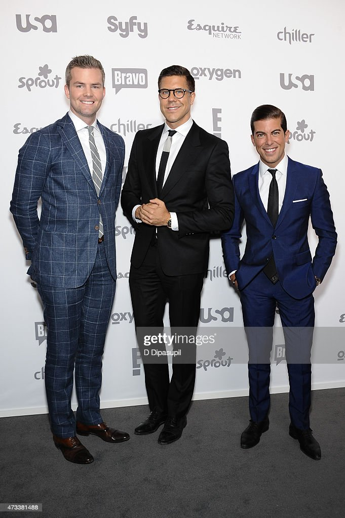 Ryan Serhant Fredrik Eklund and Luis D Ortiz of 'Million Dollar Listing New York' attend the 2015 NBCUniversal Cable Entertainment Upfront at The...