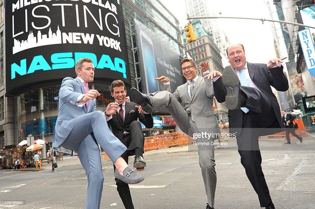Ryan Serhant, Luis D Ortiz, Fredrik Eklund and David Wicks ring the NASDAQ closing bell at NASDAQ MarketSite on July 17, 2013 in New York City.
