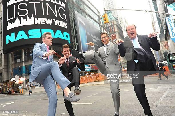 Ryan Serhant Luis D Ortiz Fredrik Eklund and David Wicks ring the NASDAQ closing bell at NASDAQ MarketSite on July 17 2013 in New York City