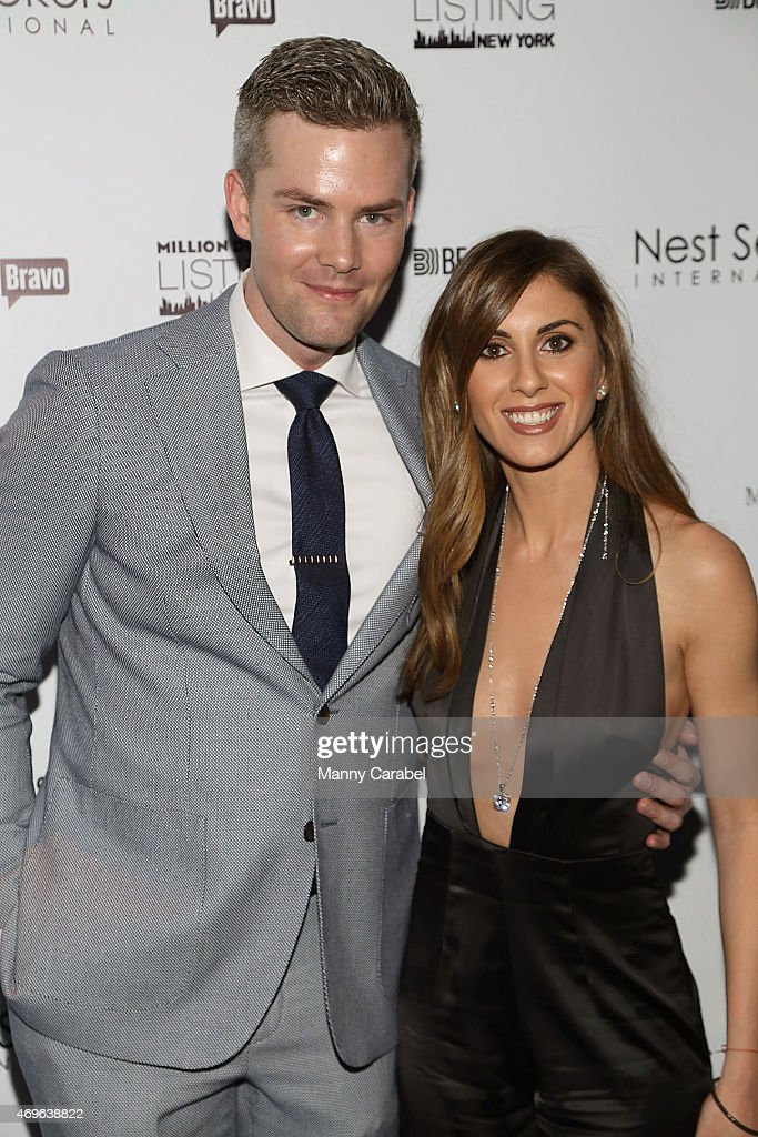 Ryan Serhant with his fiancee Emilia Bechrakis attend the Million Dollar Listing New York Premiere Party at Marquee on April 13 2015 in New York City