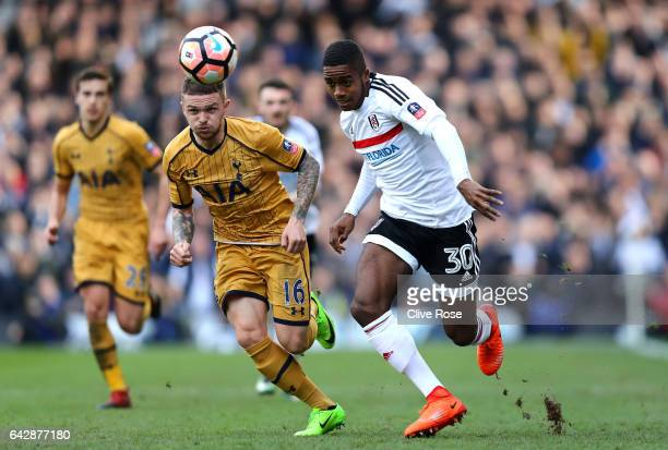 Ryan Sessegnon of Fulham battles with Kieran Trippier of Tottenham Hotspur during The Emirates FA Cup Fifth Round match between Fulham and Tottenham...