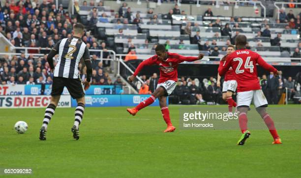 Ryan Sessegnon of Fulham scores the second goal during the Sky Bet Championship match between Newcastle United and Fulham at St James' Park on March...