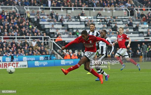 Ryan Sessegnon of Fulham scores the third goal during the Sky Bet Championship match between Newcastle United and Fulham at St James' Park on March...